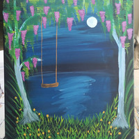 Hand painted wood framed canvas - Summers night