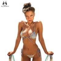 PLAVKY Sexy Strappy Bead Exotic Starfish Ruffle Biquini Micro String Swim Bathing Suit Bandage Swimsuit Swimwear Women Bikini