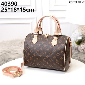 LV 2019 new classic checkerboard female shoulder bag pillow bag handbag Coffee print
