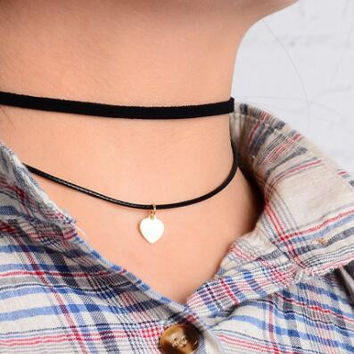 Fashion double layer heart pendant choker necklace XR