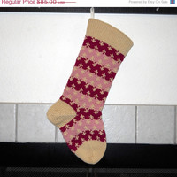 Striped Hand Knit Christmas Stocking in Radiant Orchid and Soft Rose, can be personalized, baby girls Christmas stocking