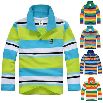 High Quality Kids Boy Girl T-shirts Long Sleeve Cotton Shirts For Baby Toddler Big Spring Autumn Striped Children Clothing