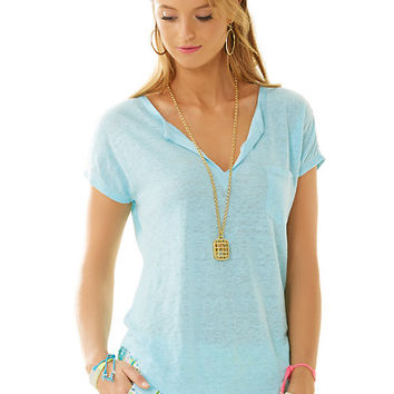 Duval Notch Neckline Linen Top - Lilly Pulitzer