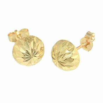 14k Solid Yellow Gold Half Ball Stud Earrings High Polish Laser Cut *FREE BOX*