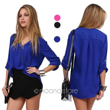 Fashion Women Foldable Sleeve Casual V-Neck Chiffon Shirt Tops Loose Blouse = 1828189380