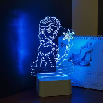 CNHIDEE USB Novelty KIDS Lovely 3D Lamp Besides Lights Elsa ANNA LED Nightlight Table Lampara with Touch Lamp Base