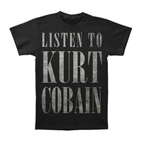 Nirvana Men's  Listen To Kurt Cobain Slim Fit T Slim Fit T-shirt Black
