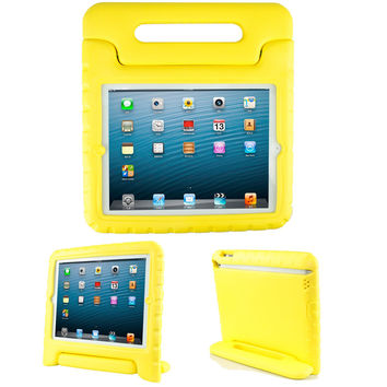 iPad2iPad3iPad4 Eva Case-SIMPLEWAY Kids Friendly Durable Light Weight Shock Proof Protective Carrying Handle Stand Cover Case for Apple iPad 2/3/4 TabletYellow Yellow