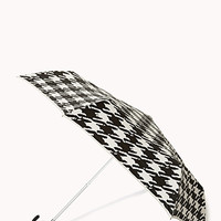 FOREVER 21 Houndstooth Travel Umbrella Black/Cream One