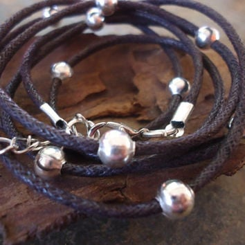GLITTER ROAD in dark brown  wrap bracelet with silver beads
