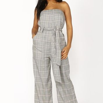 Perfect Attendance Plaid Jumpsuit - Grey