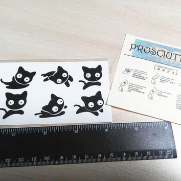 6pcs set temporary tattoo little small cute cat kitten kitten kitty pussy kitten kitty whimsy pussy sticker fake tattoo women accessories
