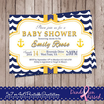 Yellow Navy Blue or Hot Pink Blue Nautical Anchor Baby Boy Girl Shower Digital Printable Invitation DIY Personalized Custom