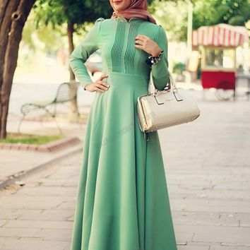 Modanisa - Ribbed Dress - Green - Minel Aşk
