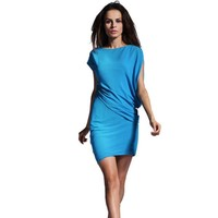 Bqueen Chiffon bat sleeve dress Blue SK022L - Designer Shoes|Bqueenshoes.com
