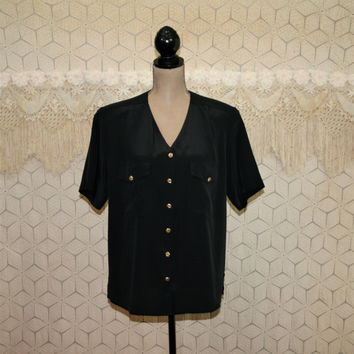 Short Sleeve Black Blouse Large Button Up Top V Neck Gold Buttons Shoulder Pad Boxy Shirt Polyester Size 14 Vintage Clothing Womens Clothing