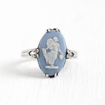 Vintage Wedgwood Sterling Silver Light Blue Cameo Ring - Size 6 1/4 Oval Blue Jasperware Angel Nymph Flower Prongs Made in England Jewelry