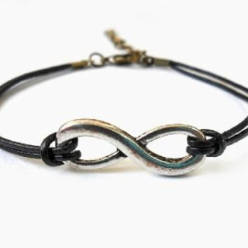 Black Ropes Steampunk Bracelet Antique Silver Karma Bracelet,infinity Wish Bracelet Adjustable Bracelet S-8