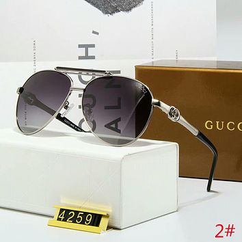 GUCCI Stylish Woman Men Simple Summer Sun Shades Eyeglasses Glasses Sunglasses Dark Purple Silvery Frame I-A-SDYJ
