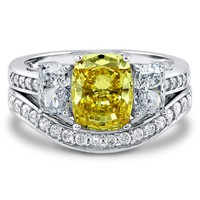 Sterling Silver Cushion Canary Yellow CZ 3 Stone Ring Set 4.33 ct.tw2 Review(s) | Write A ReviewSKU# VR013-02