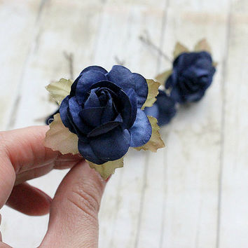 Dark Blue Rose Flower Hair Pins. Bridesmaids, Bridal, Whimsical, Fall,Autumn, Weddings. Hair Clip, Bridal, Hair Accessories, Floral,