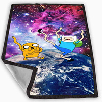 Galaxy Adventure Time Jake and Finn Blanket for Kids Blanket, Fleece Blanket Cute and Awesome Blanket for your bedding, Blanket fleece **