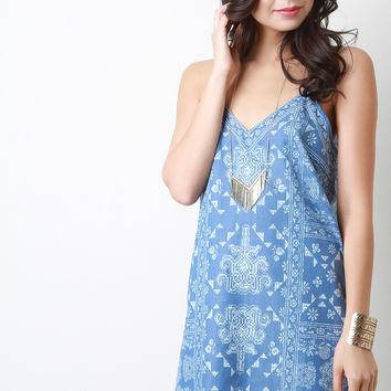 Chambray Bandana Print Shift Dress