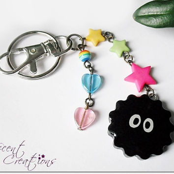 Kawaii Soot Sprite keychain, resin dangle charm keychain, Totoro keychain, Spirited Away inspired, Studio Ghibli anime, girl gamer geek gift