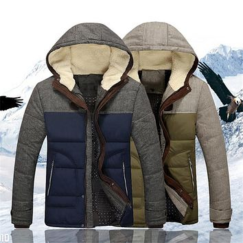 2017 Winter Big Yards Thick Cotton Hooded Jacket Men's Thicker Stitching Cotton Fashion Casual Lion Glory Brand clothing Men
