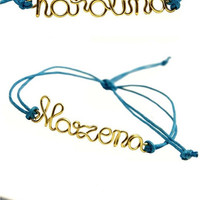 Wire name personalized friendship bracelet, gold name bracelet