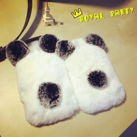 Newest Luxury Quality Real Rabbit Fur Phone Cases For Sam S7/6/5 Rabbit Fur Panda Bear Ear for iPhone 7 Plus 6s 5s Free Shipping