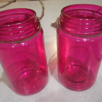 Jar Lanterns, Hanging Jars, Pink Jar Lanterns, Hanging Pink Jars, Pink Jars, Pink Candle Holders, Valentines Day Lanterns
