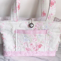 Quilted Purse - Tote - Bag - Shabby Chic - Pink - White - Floral