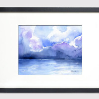 Stormy Ocean Watercolor Painting - 8 x 10 - Giclee Print - Abstract Painting