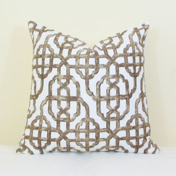 Brown white trellis throw pillow cover 18x18 pillow brown Brown white pillow Lacefield pillow