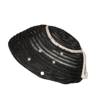 1950s Cocktail Hat by Eva Mae, Black Horsehair & Faux Pearls, Hat Size 20