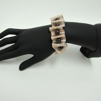 Burberry inspired satin ribbon beaded bracelet