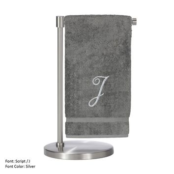 Monogrammed Bath Towel, Personalized Gift, 27 x 54 Inches - Set of 2 - Silver Script Embroidered Towel - 100% Turkish Cotton- Soft Terry Finish - For Bathroom,Kitchen or Spa - Script J Gray