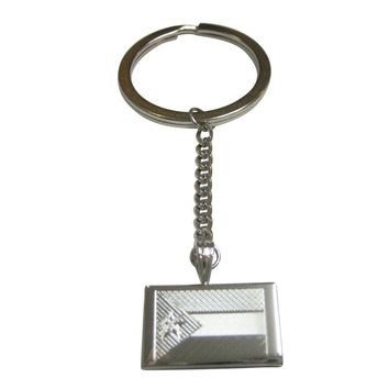 Silver Toned Etched Mozambique Flag Pendant Keychain