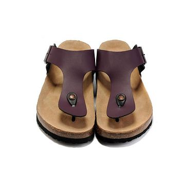 2017 fashion birkenstock summer fashion leather cork flats beach lovers slippers casual sandals for women men black couples slippers size 36 45-1