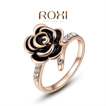 ROXI Christmas Gift Classic Genuine Austrian Crystals Sample Sales Rose Gold Plated Black Rose Ring Jewelry Party OFF,2010229200