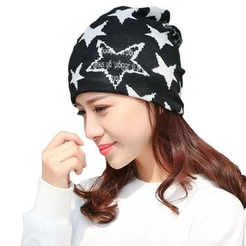 Winter spring autumn multi-function windshield cotton star scarf hats home month women caps fashion hood head pile heap beanies
