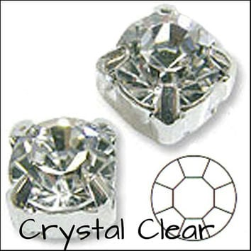 CRYSTAL SELECTION Pack of 25/Pack of 288 Rhinestone/Diamante/Crystal Sew On Round (6mm) - Accessories, Cakes, Bouquets, Jewellery, Costume!