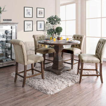 """Furniture of america CM3840A-RPT-3564A-PC-5PC 5 pc Nerissa antique oak finish wood 48"""" round counter height dining table set"""