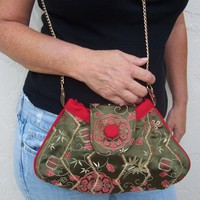 Cross Body Bag , Asian Purse , Olive Green and Red Shoulder Bag