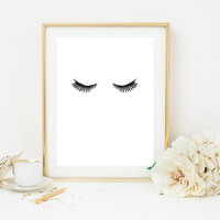 "Minimalist Poster ""Eye Lashes"", Makeup Print, Fashion Print, Wall Decor, Minimal Art, Fashion Wall Art, Fashion Poster, Bedroom Print."