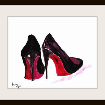 Christian Louboutin, Shoes, Printable, Wall Art, decor, watercolor painting, decal gift, decals, print, gifts, chanel poster, canvas, modern