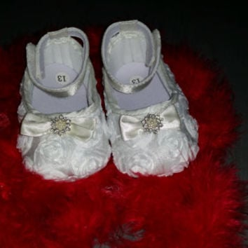 Clearance Sale,Baptism Baby Shoes, Baby girl white Shoes,White Baby Shoes,Christening baby shoes, Wedding Baby Shoes, Ready to ship