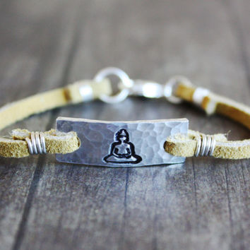 buddha bracelet, mustard yellow leather bracelet, customizable symbol bracelet, stamped silver tone, yoga jewelry, yoga bracelet, meditation