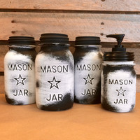 Vintage Mason Jar Canisters, Rustic White Mason Star Jars, Mason Jar Soap Dispenser, White Mason Jar Kitchen Canisters, Farmhouse Kitchen
